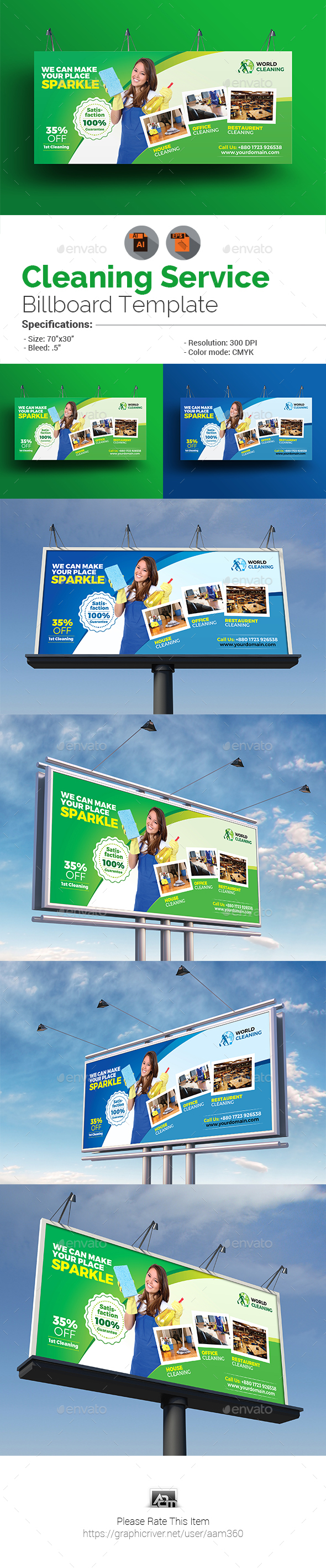GraphicRiver Cleaning Service Billboard 20775267