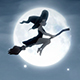 Cartoon Witch Flying On Broomstick