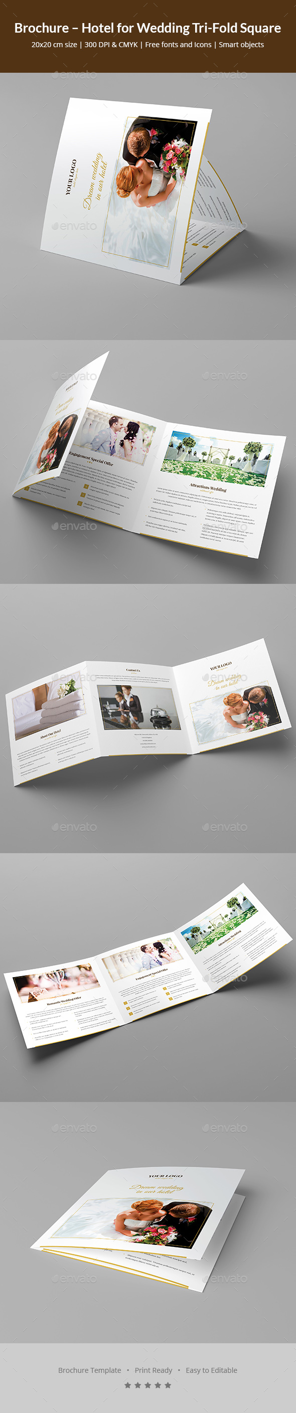 Brochure hotel for wedding tri fold square by artbart for Hotel brochure design templates
