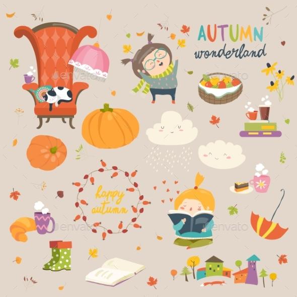 Cartoon Autumn Set - Miscellaneous Vectors