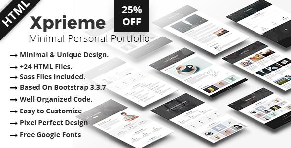 Xprieme - Minimal Personal Portfolio HTML Template. - Portfolio Creative