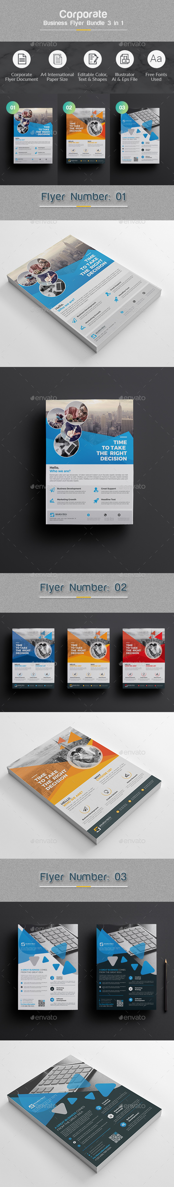 Flyer Template Bundle 3 in 1 - Corporate Flyers