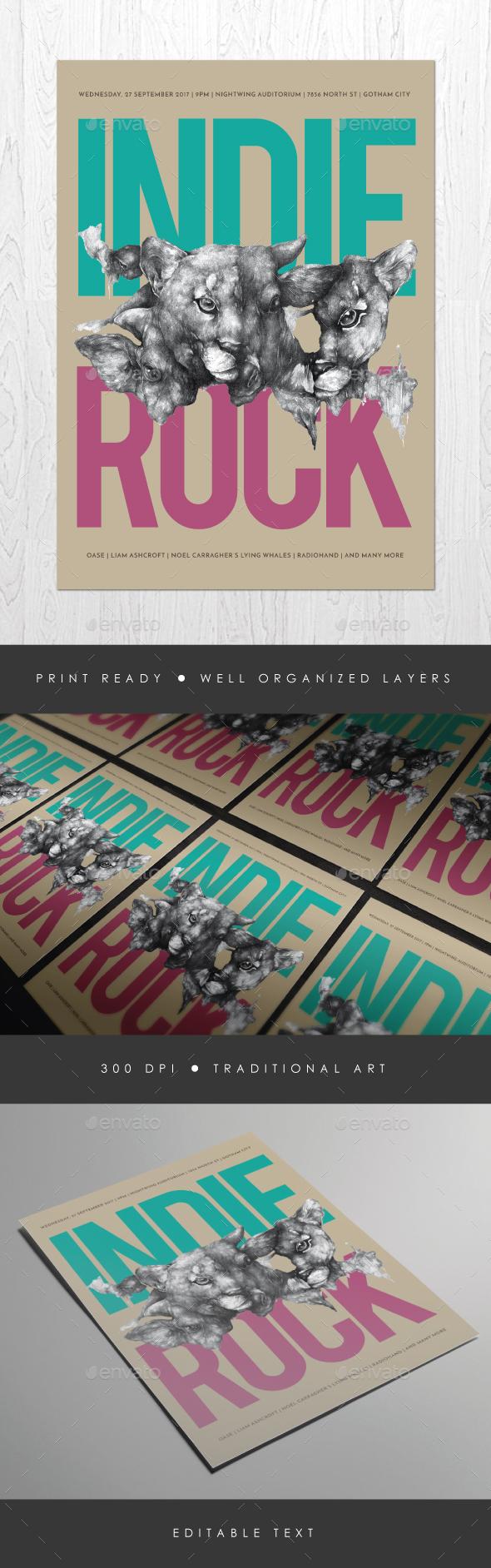 Indie Rock Vol. 6 Flyer - Concerts Events