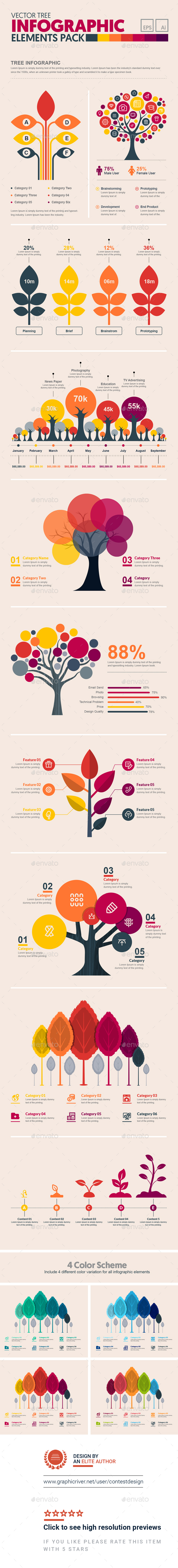 GraphicRiver Tree Infographic Elements Template Pack 20776540