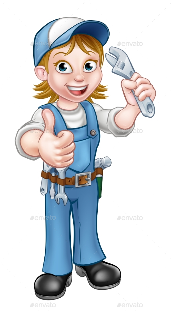 GraphicRiver Cartoon Mechanic or Plumber Woman Holding Spanner 20776830