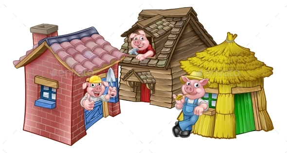 GraphicRiver The Three Little Pigs Fairytale Houses 20776833