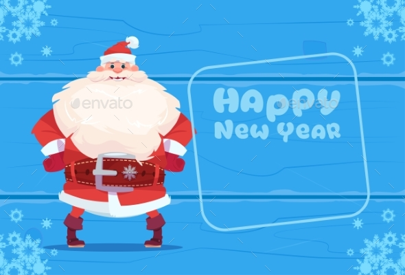 Santa Claus on Happy New Year Greeting Card - Christmas Seasons/Holidays