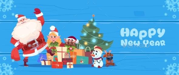 Santa Claus with Elves and Christmas Tree - Christmas Seasons/Holidays