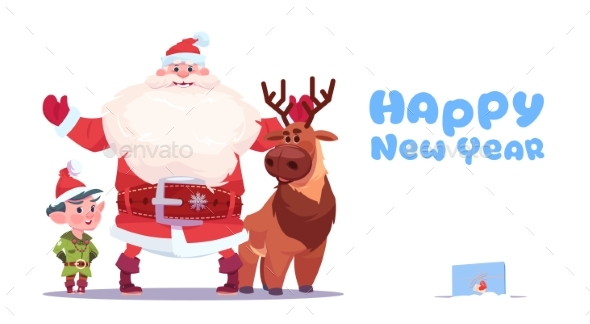 Santa Claus with Elves on Happy New Year Greeting - Christmas Seasons/Holidays