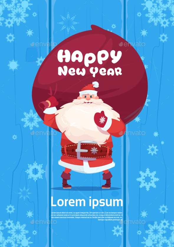 Santa Claus with Gift Sack on Happy New Year Background