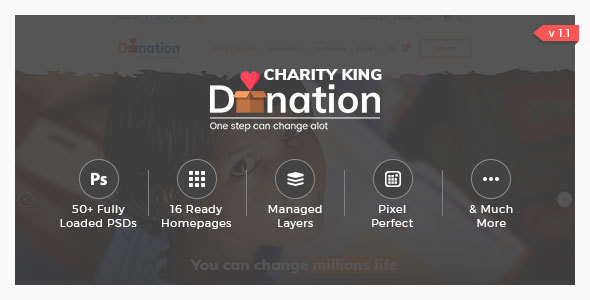 Charity King - Charity PSD Template - Charity Nonprofit