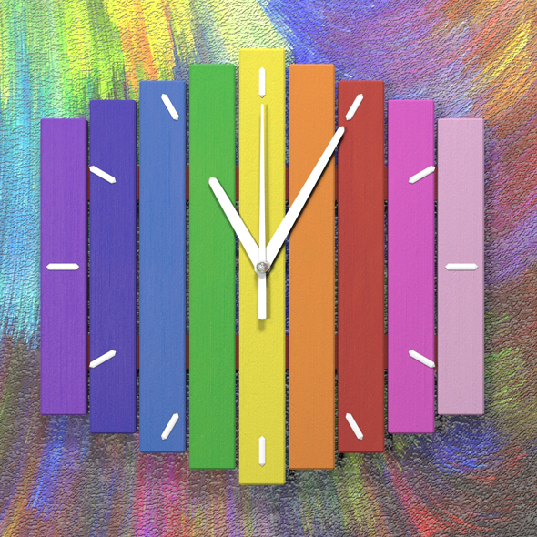 Wooden rainbow clock - 3DOcean Item for Sale
