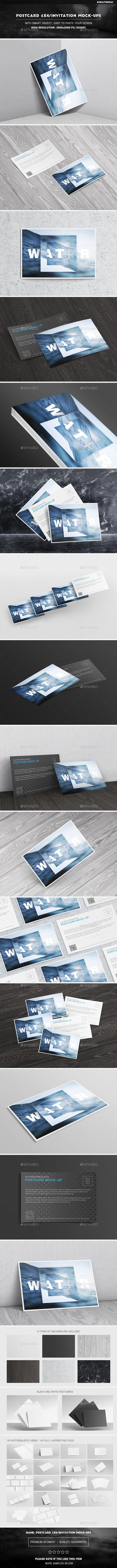 Postcard 6x4 / Invitation Mock-Ups - Miscellaneous Print