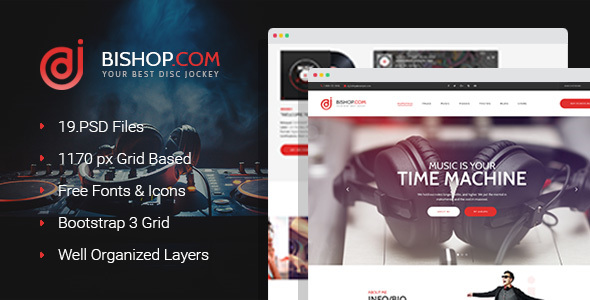 Dj Bishop - Dj Personal Page PSD Template