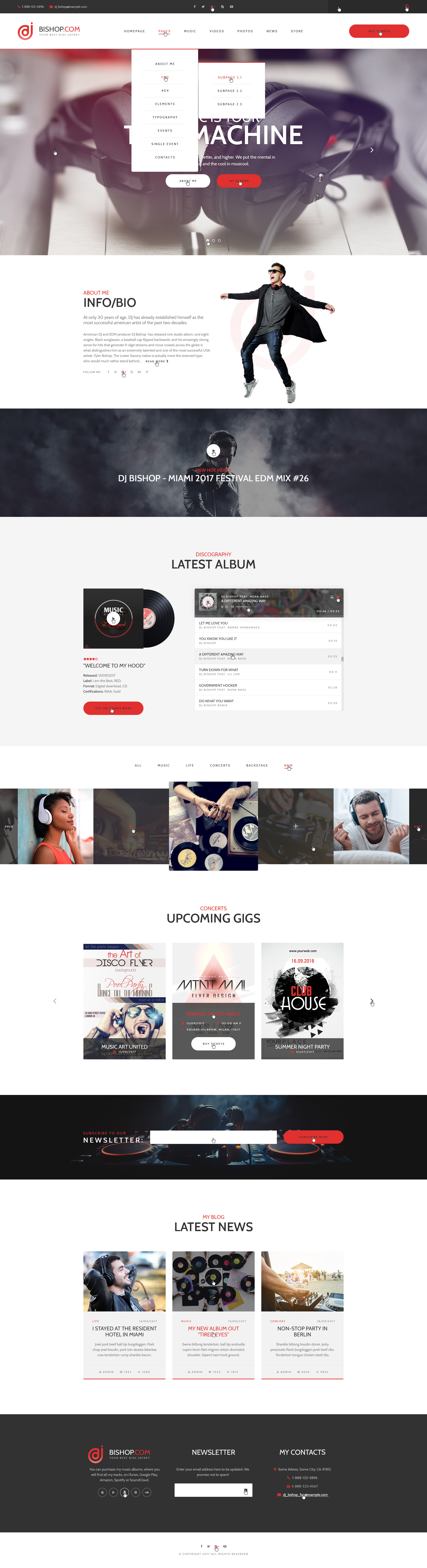 Dj Bishop - Dj Personal Page PSD Template by WPRollers | ThemeForest