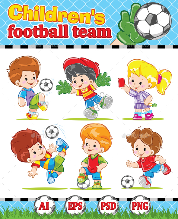 Children's Football Soccer Team - People Characters