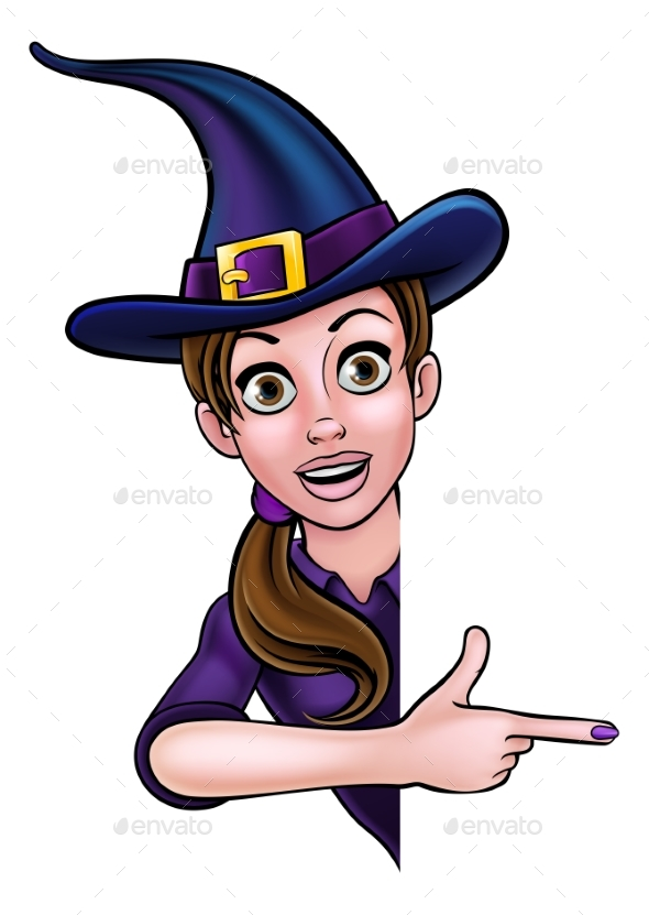 GraphicRiver Halloween Witch Pointing at Sign 20778318