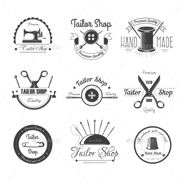GraphicRiver Tailor Shop Salon Vector Icons Button 20778357