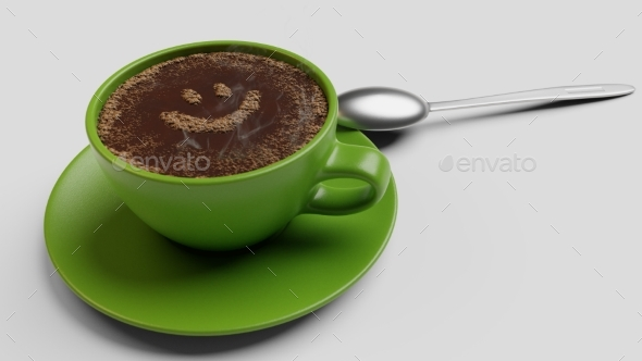 GraphicRiver Green Cup of Coffee with Foam As Like 3d 20778489