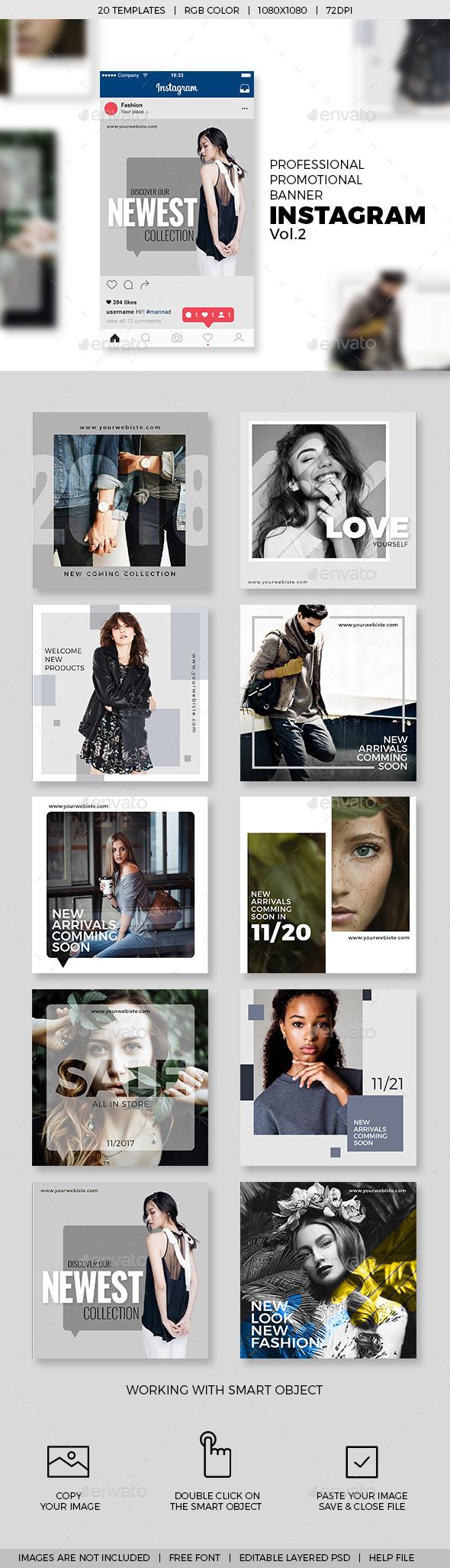 10 Instagram Promotional Banner Templates V.02 - Social Media Web Elements