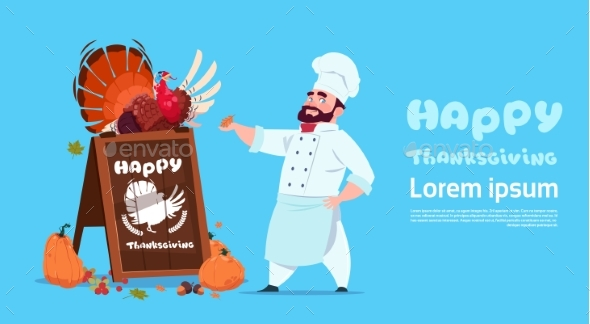 Happy Thanksgiving Day Male Chef Cook Holding - Backgrounds Decorative