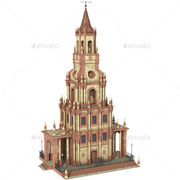 Tower Building. Classic - Architecture 3D Renders