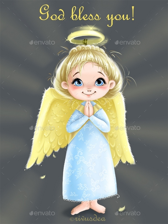 Clip Art with Cute Little Angel Girl - Characters Illustrations