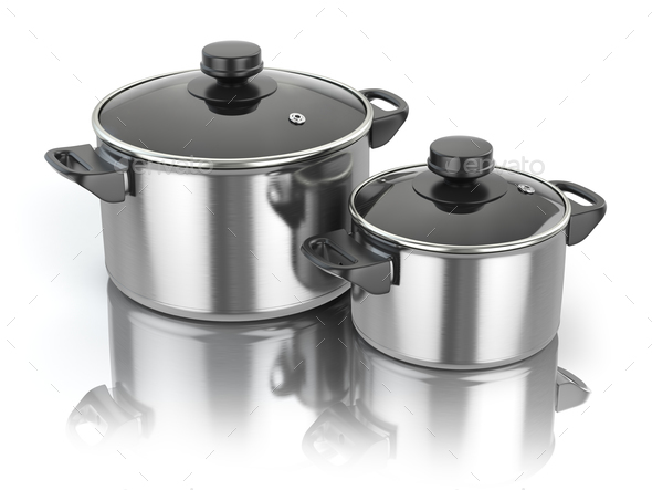 Stainless steel cooking pot isolated on white background. - Stock Photo - Images