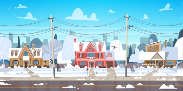 Village Winter Landscape House Buildings with Snow - Buildings Objects