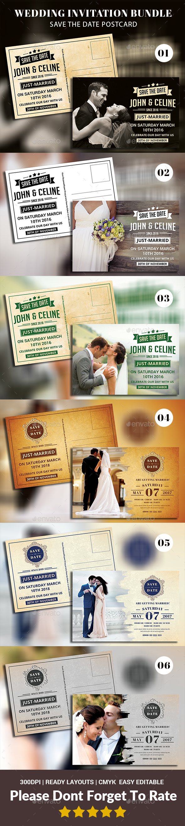 Save The Date Postcard Bundle Templates - Weddings Cards & Invites