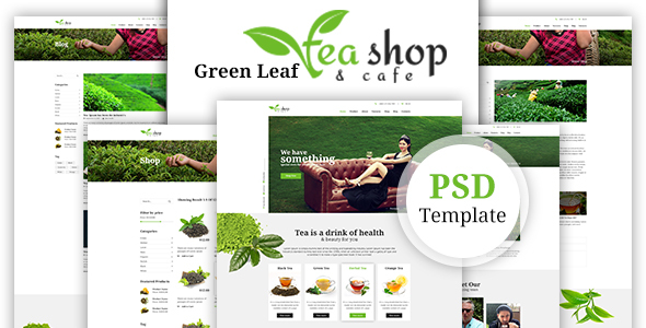Green Leaf Tea Shop PSD Template - Food Retail
