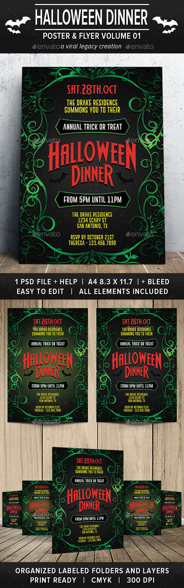 Halloween Dinner Party Poster / Flyer V01 - Flyers Print Templates
