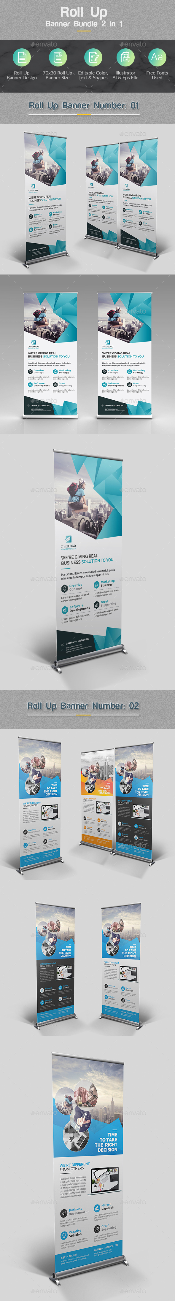 Roll Up Banner Bundle 2 in 1 - Signage Print Templates