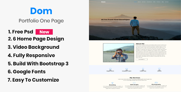Dom - Portfolio One Page - Portfolio Creative