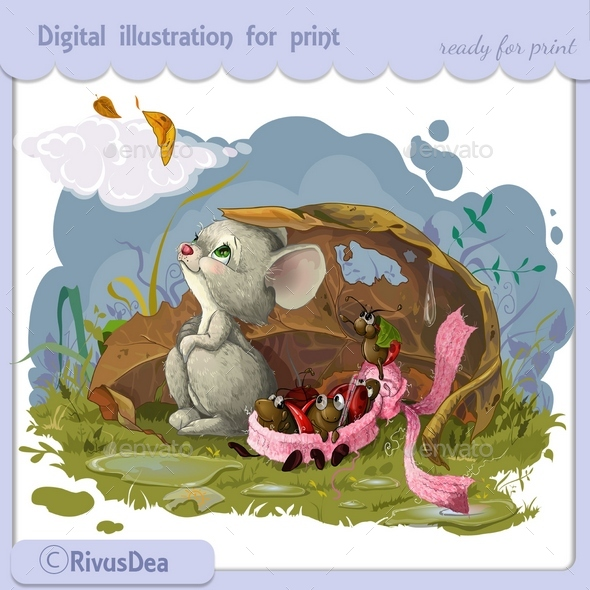 Autumn Mouse and Bugs in Scarf - Animals Characters