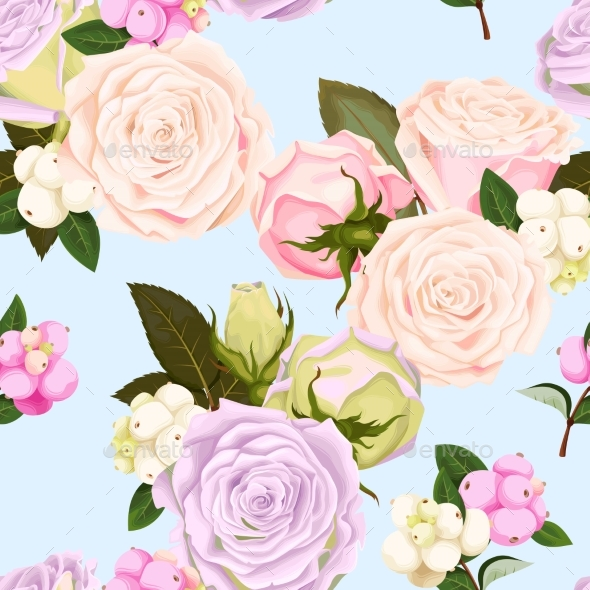Seamless Pattern with Roses and Berries - Flowers & Plants Nature
