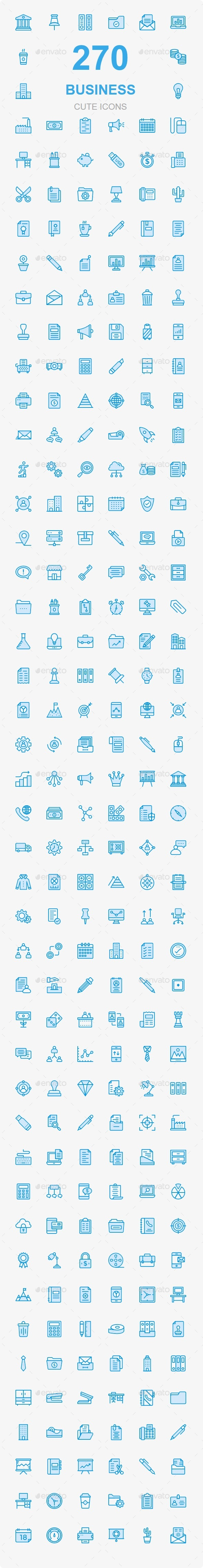 GraphicRiver Bussines and Office Cute Style icons 20779986