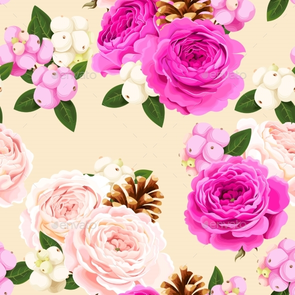 GraphicRiver Seamless Pattern with Roses and Berries 20780010