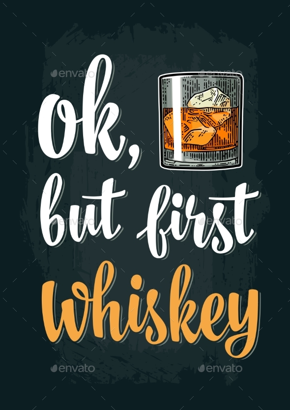 Glass of Whiskey Vintage Vector Engraving - Miscellaneous Vectors