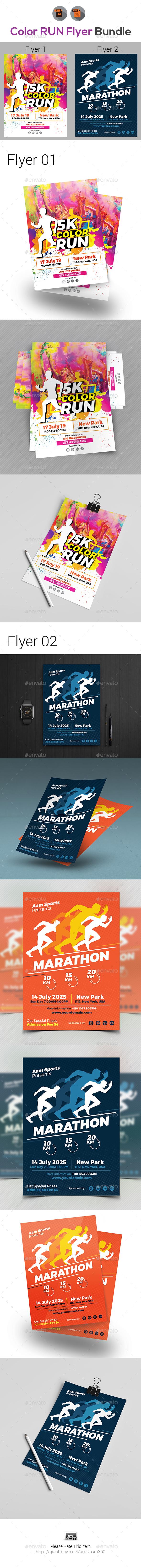 Color Run & Marathon Fest Flyers Bundle - Events Flyers