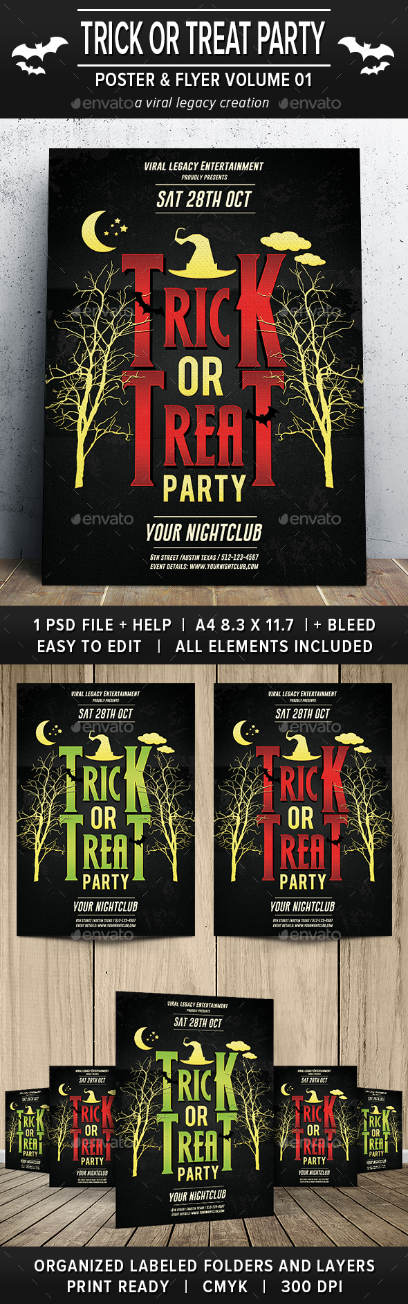Trick or Treat Party Poster / Flyer V01 - Flyers Print Templates