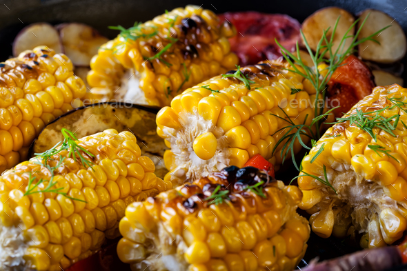 Food background made of the baked corn - Stock Photo - Images