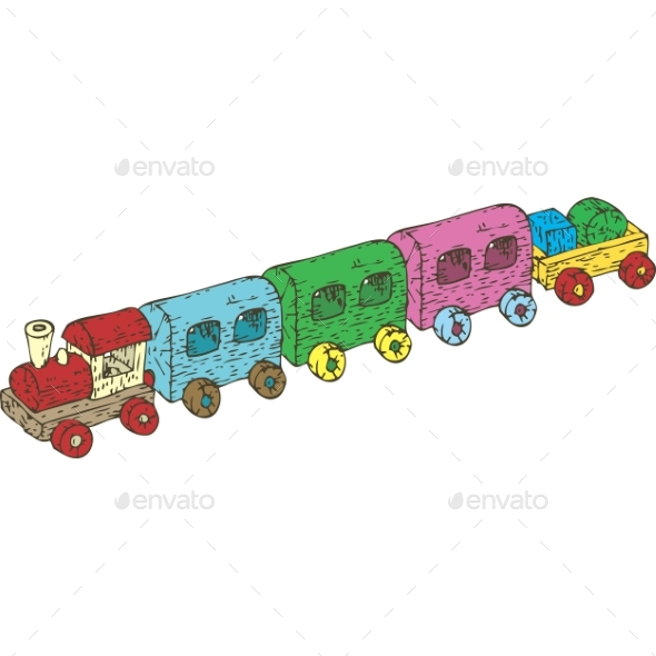 Wooden Train Set - Man-made Objects Objects
