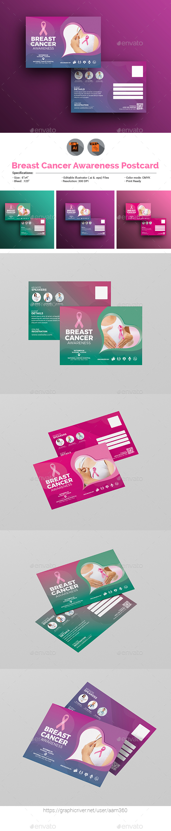 Breast Cancer Awareness Postcard - Cards & Invites Print Templates