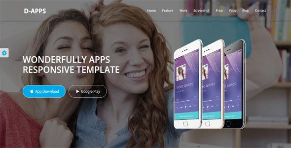 D-Apps App Responsive HTML5/CSS3 Landing Template - Site Templates