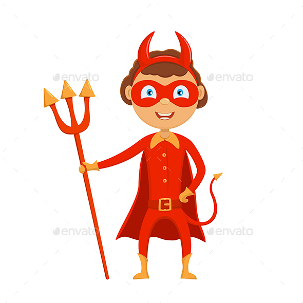 GraphicRiver Halloween Kid in Red Costume of Devil 20781372