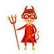 Halloween Kid in Red Costume of Devil