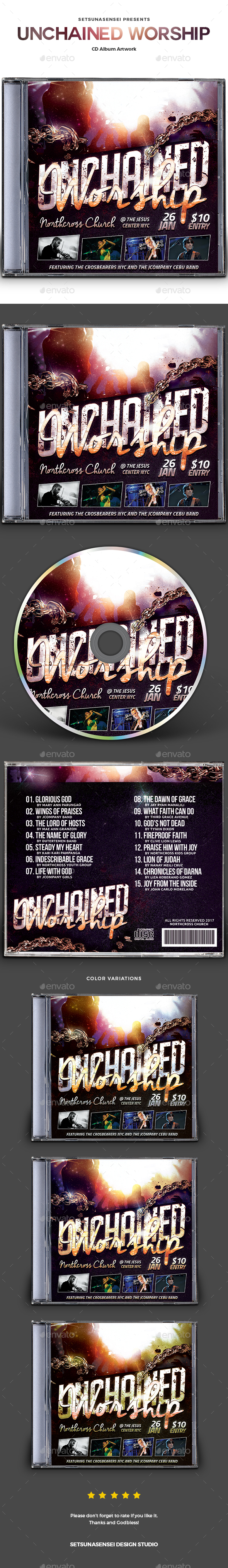 GraphicRiver Unchained Worship CD Album Artwork 20782064