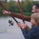 Happy Father with Son Are Fishing - VideoHive Item for Sale