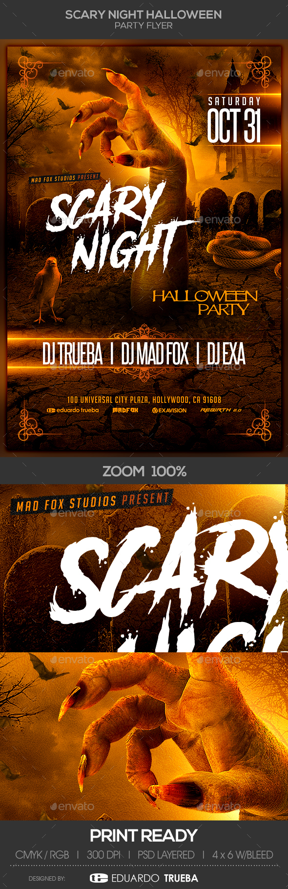 Scary Night Halloween Party Flyer - Clubs & Parties Events